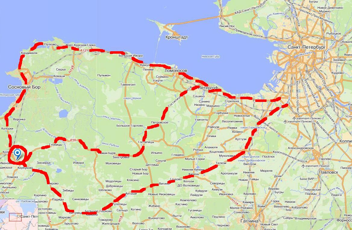 Карта: как добраться до Копорья
