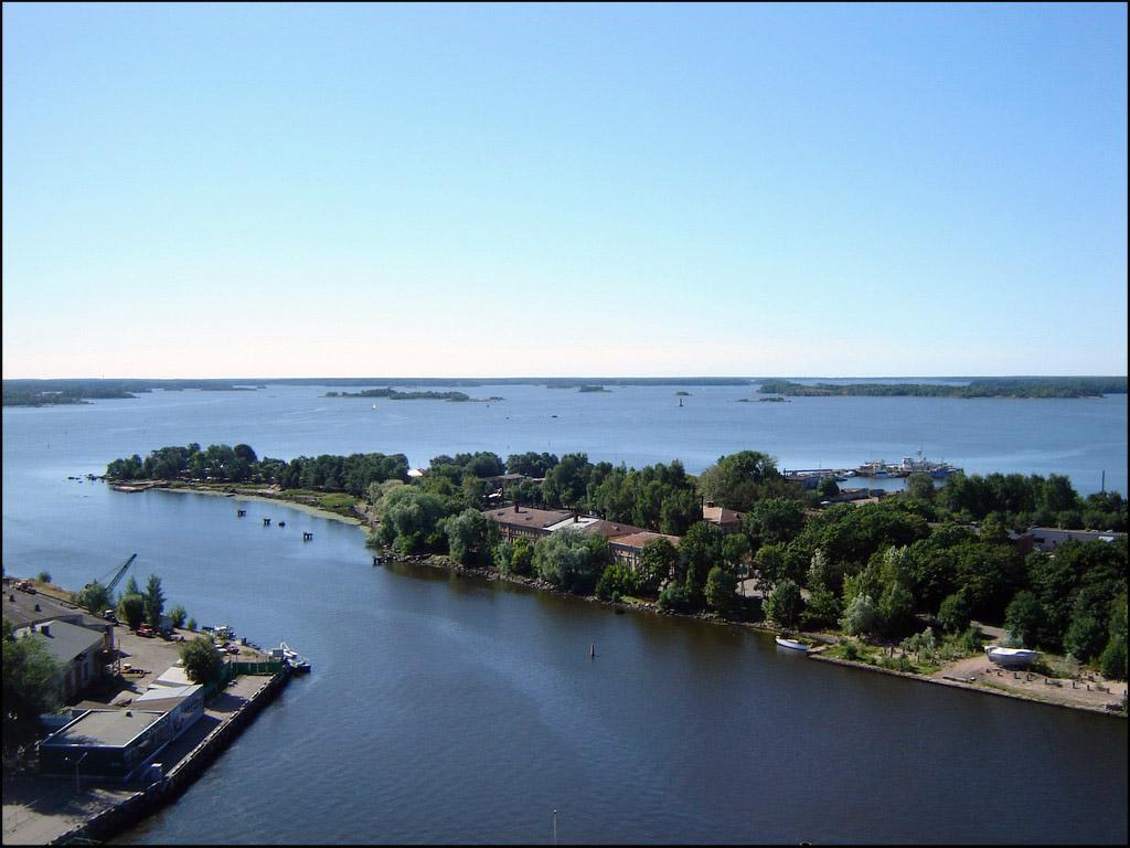 Вид с башни на выборгский залив
